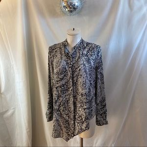 Zara Paisley Asymmetrical Hem Long Sleeve Blouse